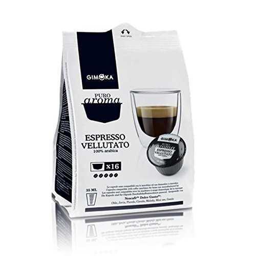 Gimoka 10x16 capsule Puro Aroma Espresso Vellutato 100%Arabica compatibili Nescafè Dolce Gusto